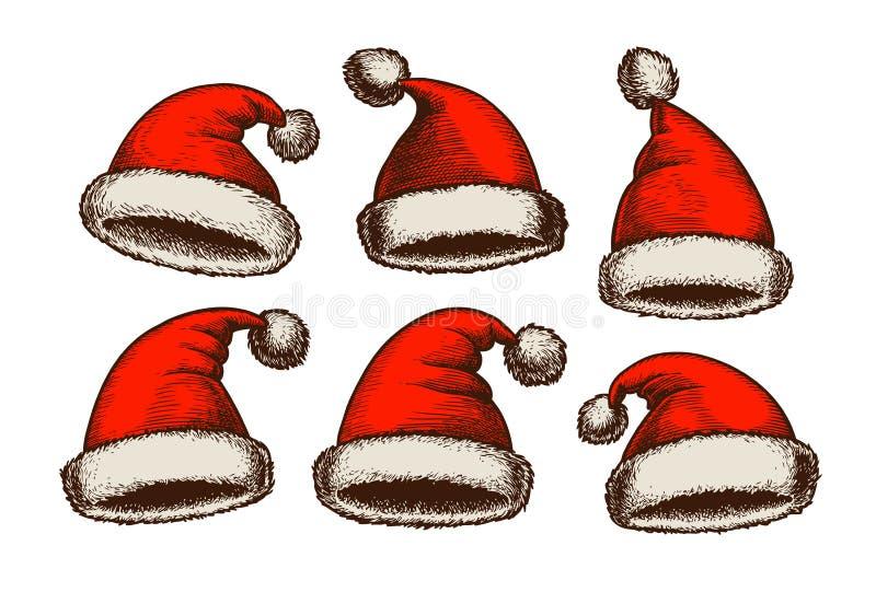 Santa Claus-hoed, wijnoogst De schets van Kerstmis Vector illustratie vector illustratie