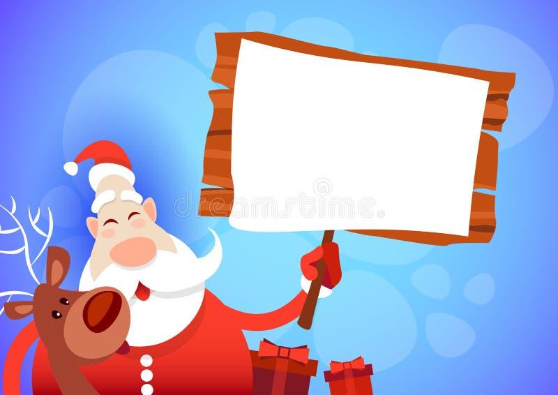Santa Claus Hold Big Empty Sign-van de de Groetkaart van Raads het Vrolijke Kerstmis Gelukkige Nieuwjaar royalty-vrije illustratie