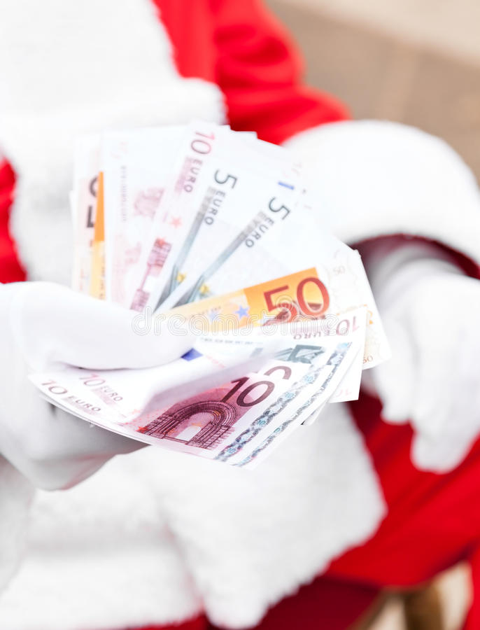 Santa Claus Holding Euros foto de stock