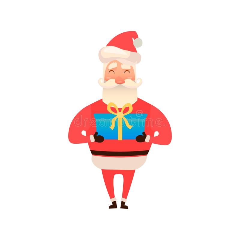 Santa Claus holding a gift box or giving present. Christmas tradition. Cute Father Frost. Vector illustration on white vector illustration