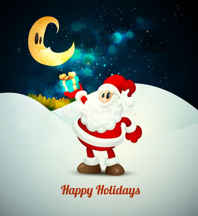 Santa Claus Holding Gift under månsken vektor illustrationer