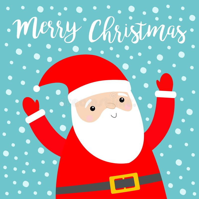 Santa Claus holding hands up. Merry Christmas. Costume, red hat, beard, belt. Cute cartoon kawaii funny character. New Year. Baby. Collection. Greeting card royalty free illustration