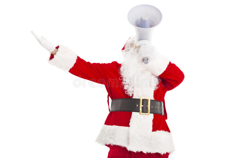 Santa Claus holding megaphone. And looking up royalty free stock image