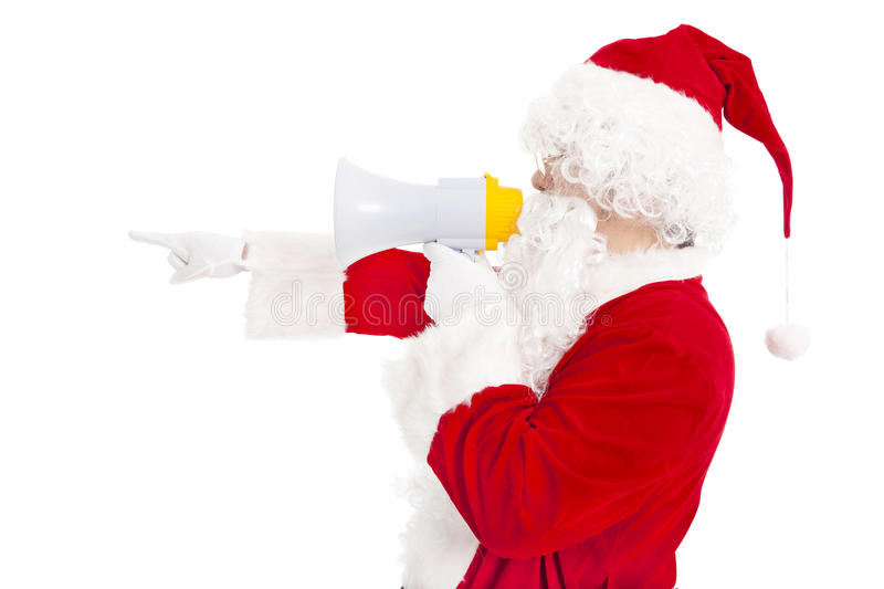 Santa Claus holding megaphone. With pointing stock photo