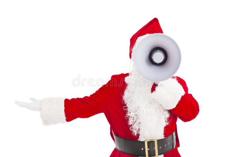 Santa Claus holding megaphone. With showing gesture stock images