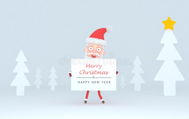 Santa Claus holding a placard with Greetings on a tree white scene.3d illustration. Santa Claus holding a placard with Greetings on a tree white scene.Isolated stock illustration