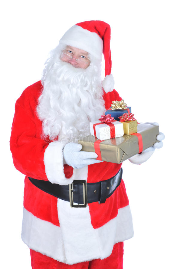 Santa Claus Holding a Present stock image