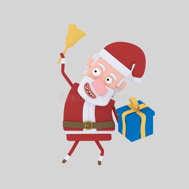 Santa claus holding ring bell and gift. 3D stock illustration