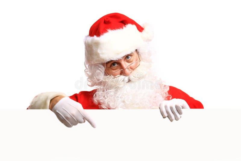 Santa Claus-holdingsbanner met Ruimte voor Tekst royalty-vrije stock fotografie