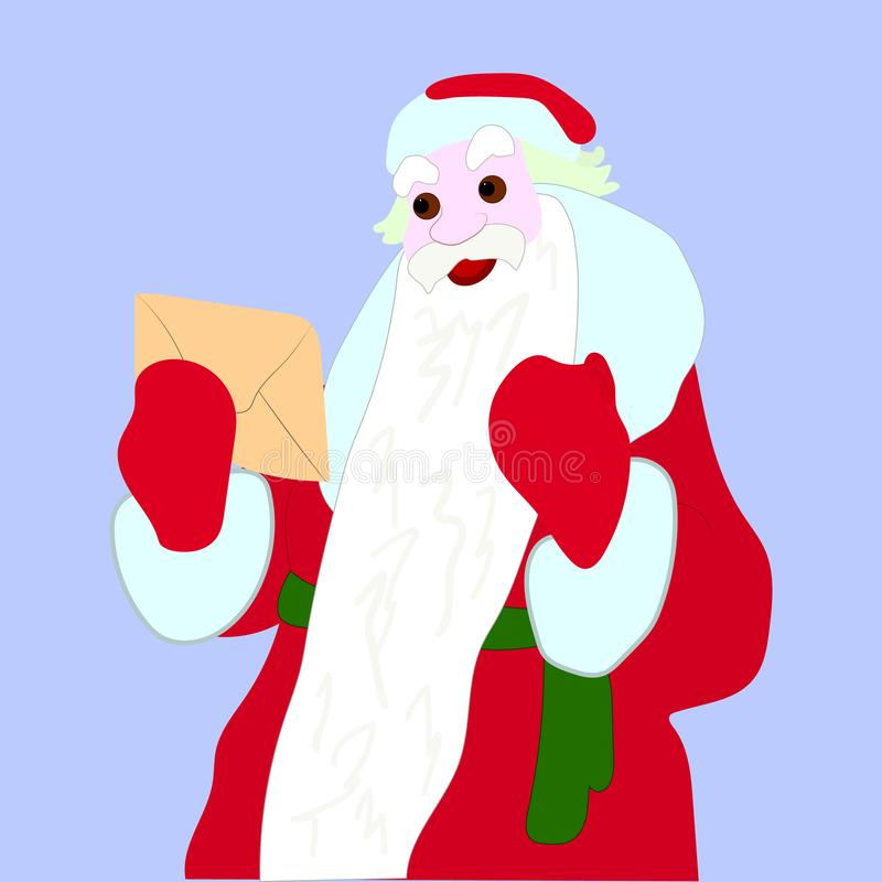 Santa Claus holds an envelope in his hands, illustration on a light blue background stock images