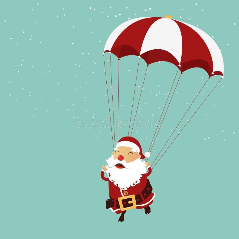 Santa Claus hoppa fallskärm i luften blå skugga för prydnad för julblommaillustration stock illustrationer
