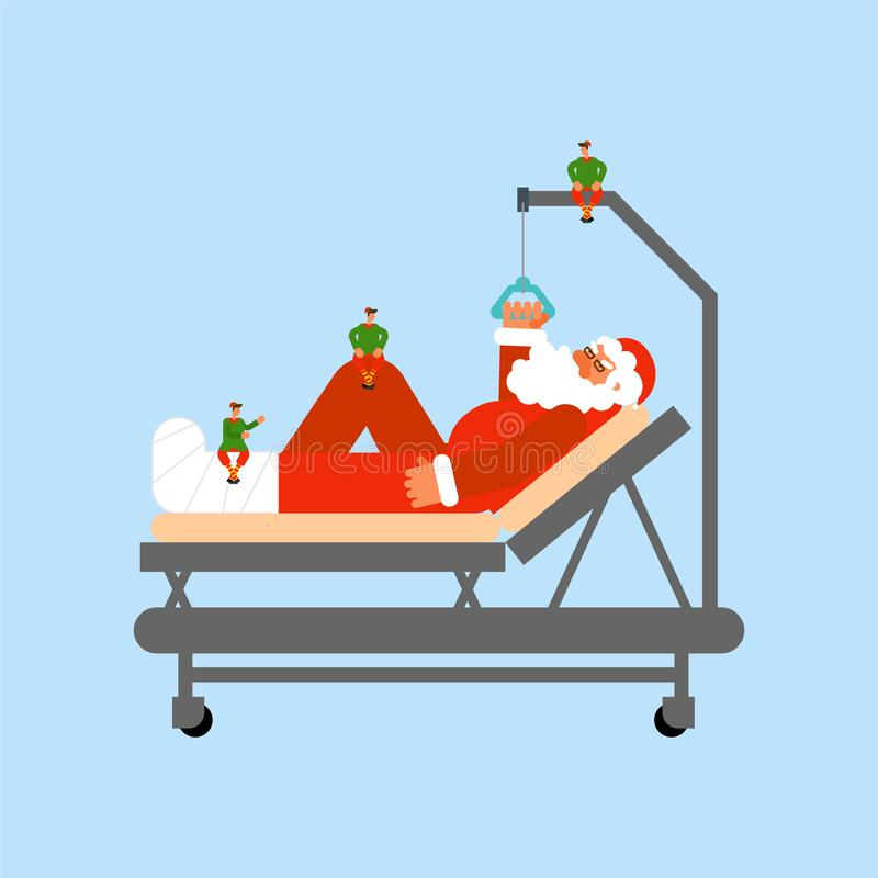 Santa Claus on Hospital bed and Little elves. Christmas in hospital. Medical care vector illustration