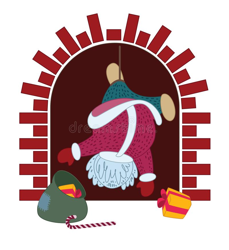 Santa Claus hung in the fireplace with gifts. Illustration for greeting card. Vector illustration vector illustration