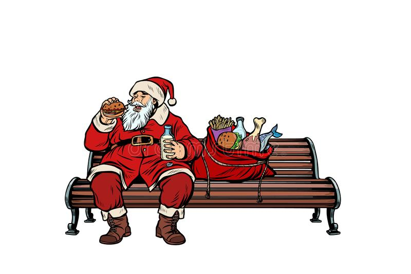 Santa Claus hungry eating on a Park bench vector illustration