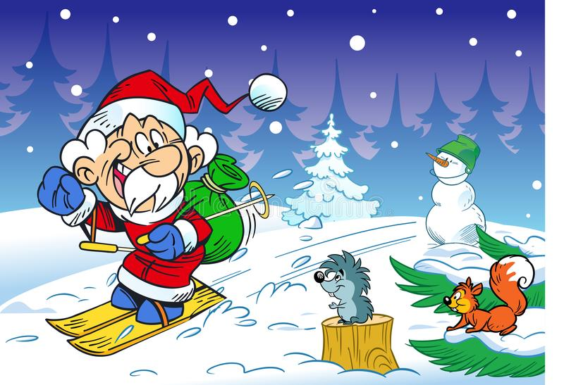 Santa Claus hurries on skis royalty free illustration