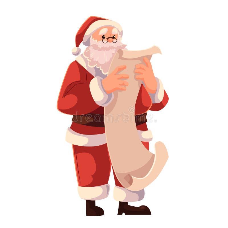 Santa Claus i exponeringsglas som läser en lång snirkel av papper vektor illustrationer