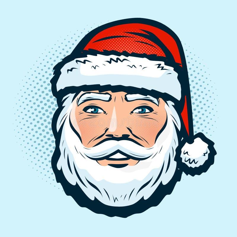 Santa Claus i hatten Jul eller symbol för nytt år Retro komisk stil för popkonst den främmande tecknad filmkatten flyr illustrati stock illustrationer