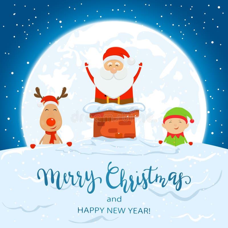 Santa Claus i lampglaset med jul hjortar och älva vektor illustrationer