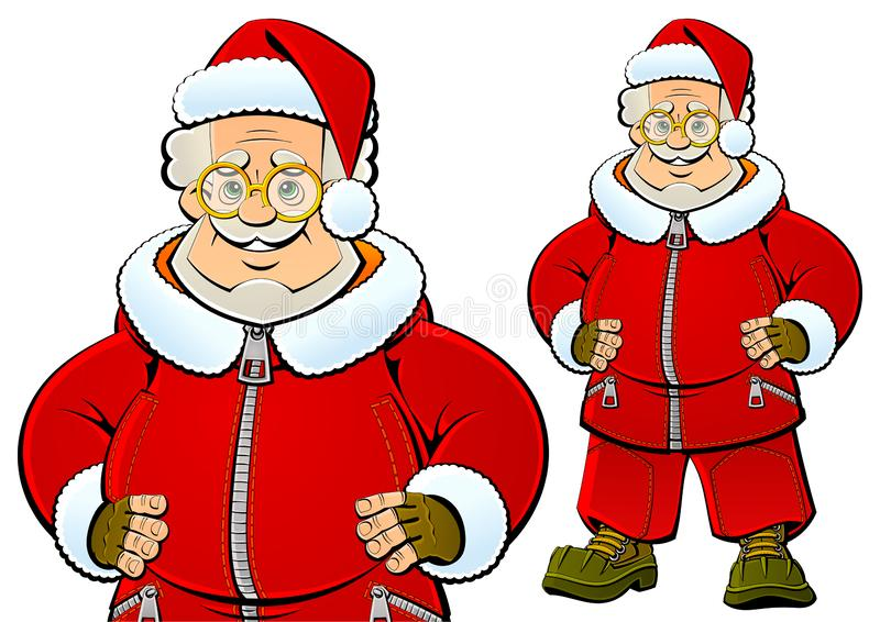 Santa Claus i modern trendig sportswear vektor illustrationer