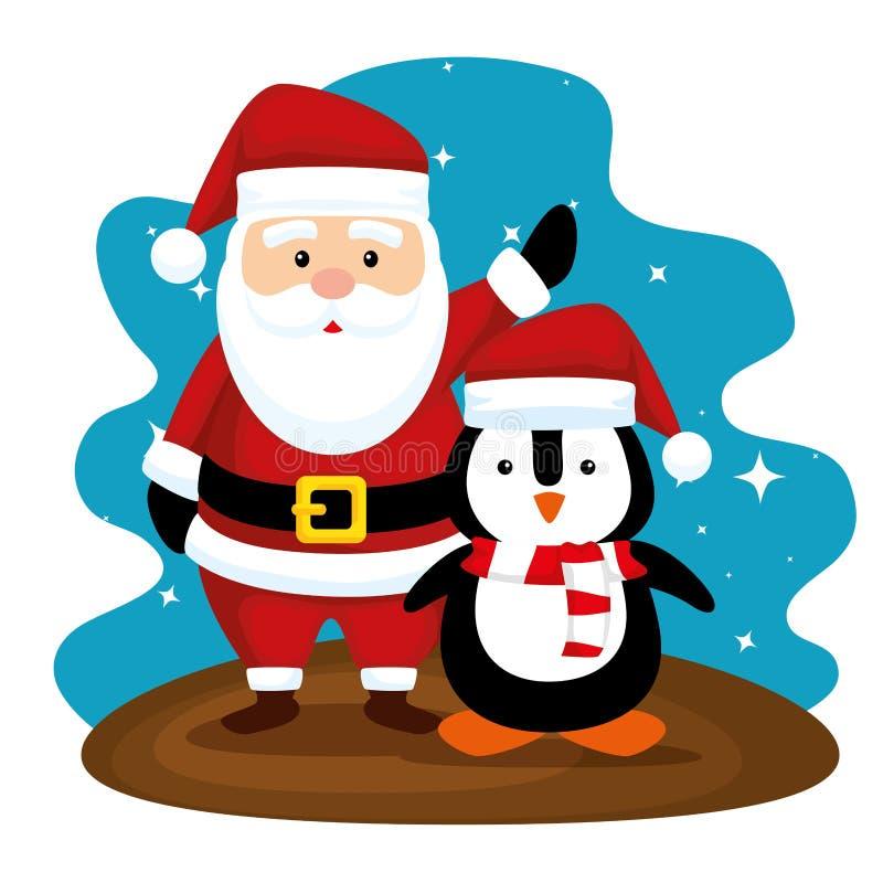 Santa Claus i pingwin z kapeluszem wesoło boże narodzenia ilustracji