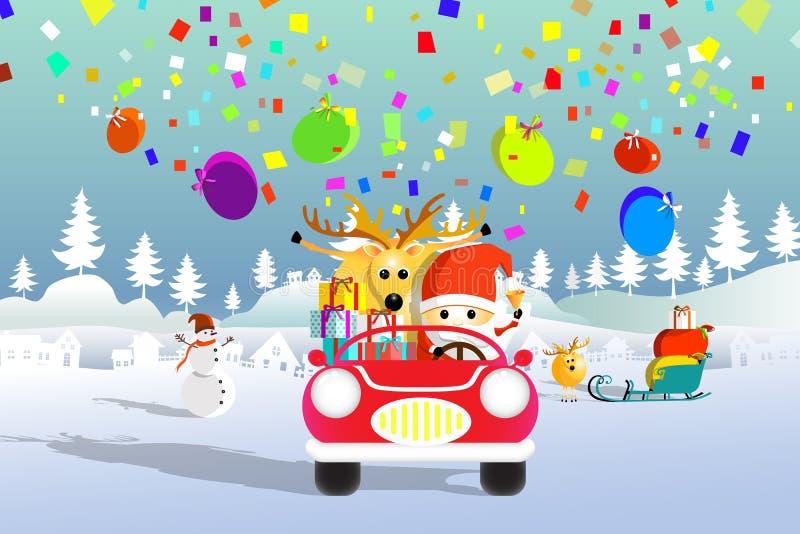 Santa Claus i renifery jedzie czerwonego samochód ilustracji