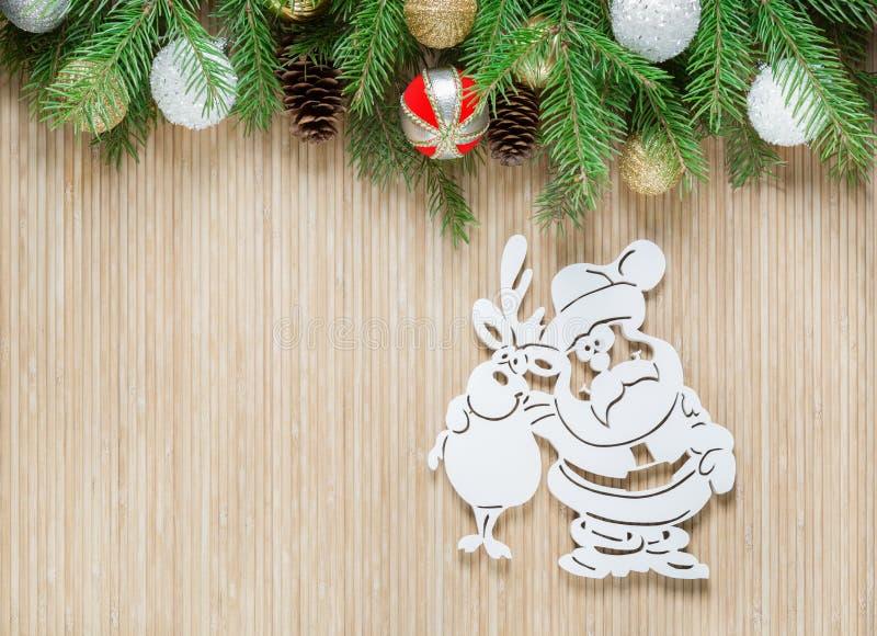 Santa Claus i rogacz Święta dekorują odznaczenie domowych świeżych pomysłów zdjęcie royalty free