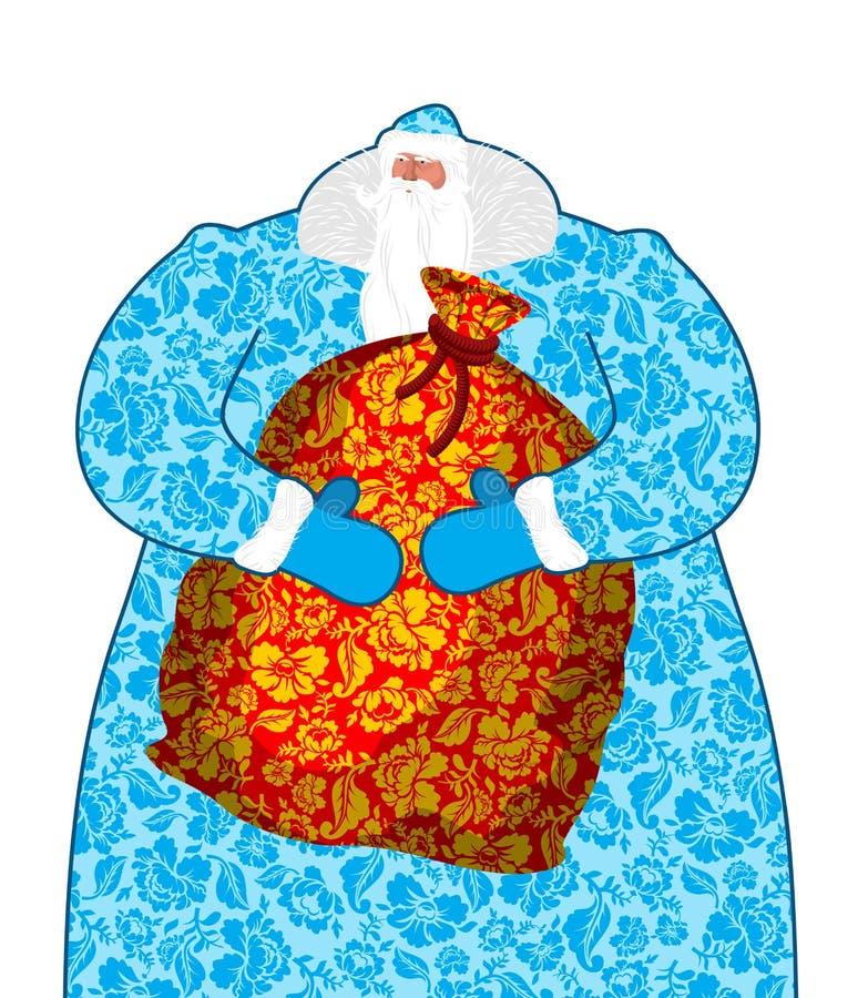 Santa Claus i Ryssland Natio för gzhel för målning för faderFrost dräkt vektor illustrationer