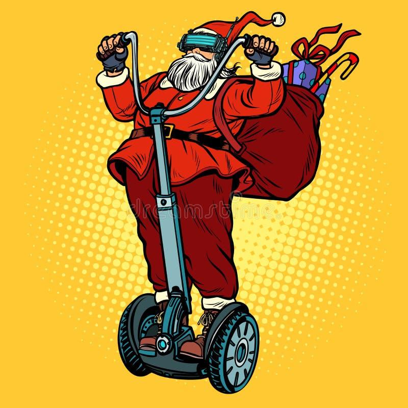 Santa Claus i VR-exponeringsglas, med julgåvor rider en electri royaltyfri illustrationer