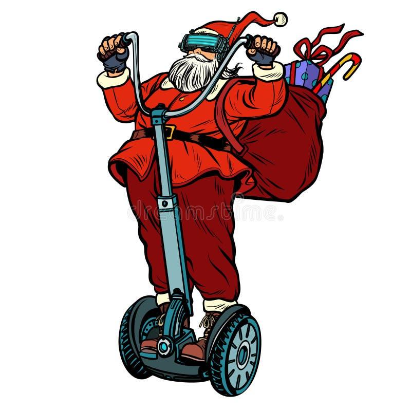 Santa Claus i VR-exponeringsglas, med julgåvor rider en electri stock illustrationer