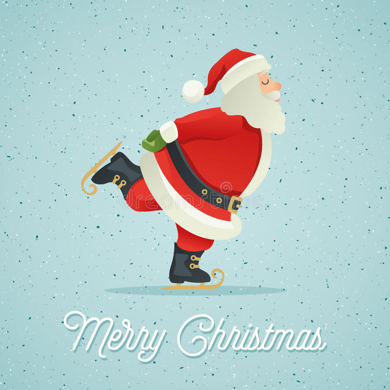 Santa Claus ice-skate stock illustration