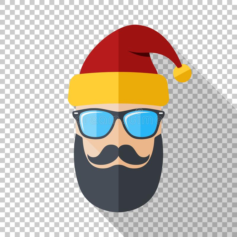 Santa Claus icon with a cool beard, mustache and glasses in flat style on transparent background vector illustration