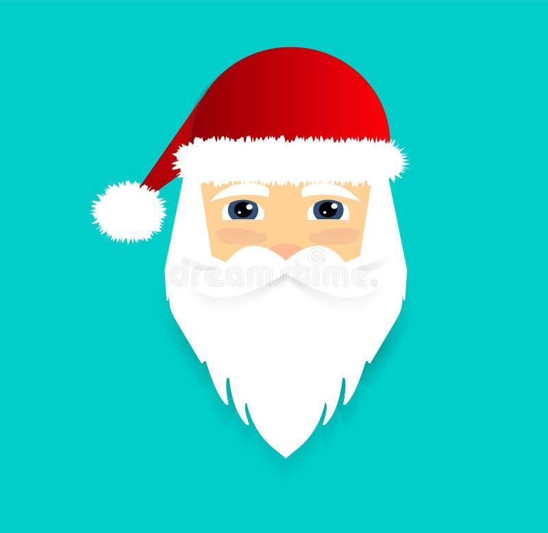 Santa Claus Icon Het gezicht van de Kerstman Vlakke stijl Vector illustratie vector illustratie