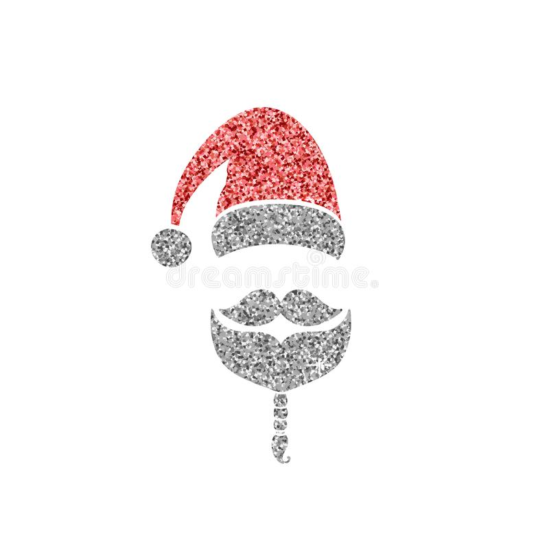 Santa Claus Icon Hoed, snor en baard Rood en gouden vakantieontwerp Vector illustratie EPS10 royalty-vrije illustratie