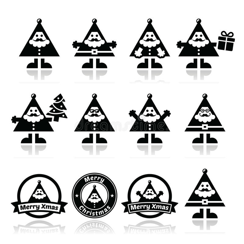 Santa Claus icons, Merry Christmas icon labels. Vector icons set of happy Santa on white stock illustration