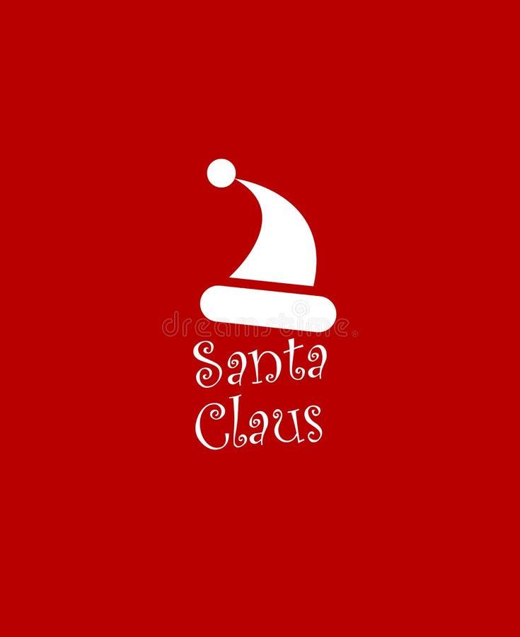 Santa Claus ikona nad czerwonym tłem Płaska ikona Czyści projekt przygotowywa ikonę royalty ilustracja