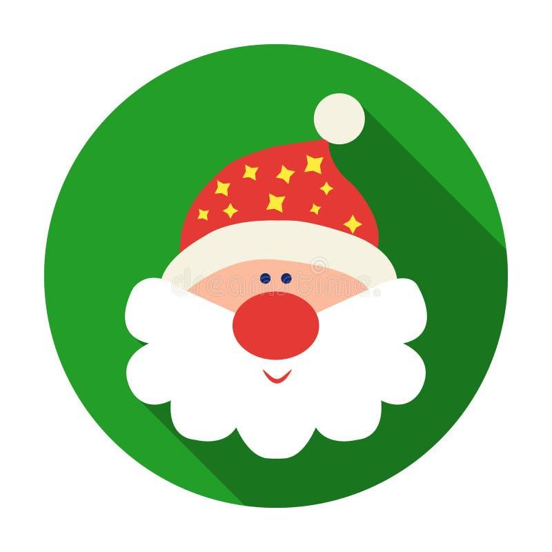 Santa Claus-Ikone in der flachen Art lokalisiert auf weißem Hintergrund Weihnachtstagessymbolvorrat-Vektorillustration stock abbildung