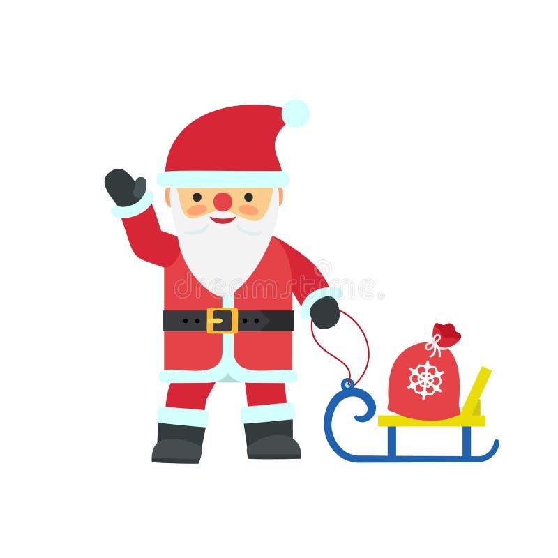Santa Claus-Ikone, flache Art stock abbildung