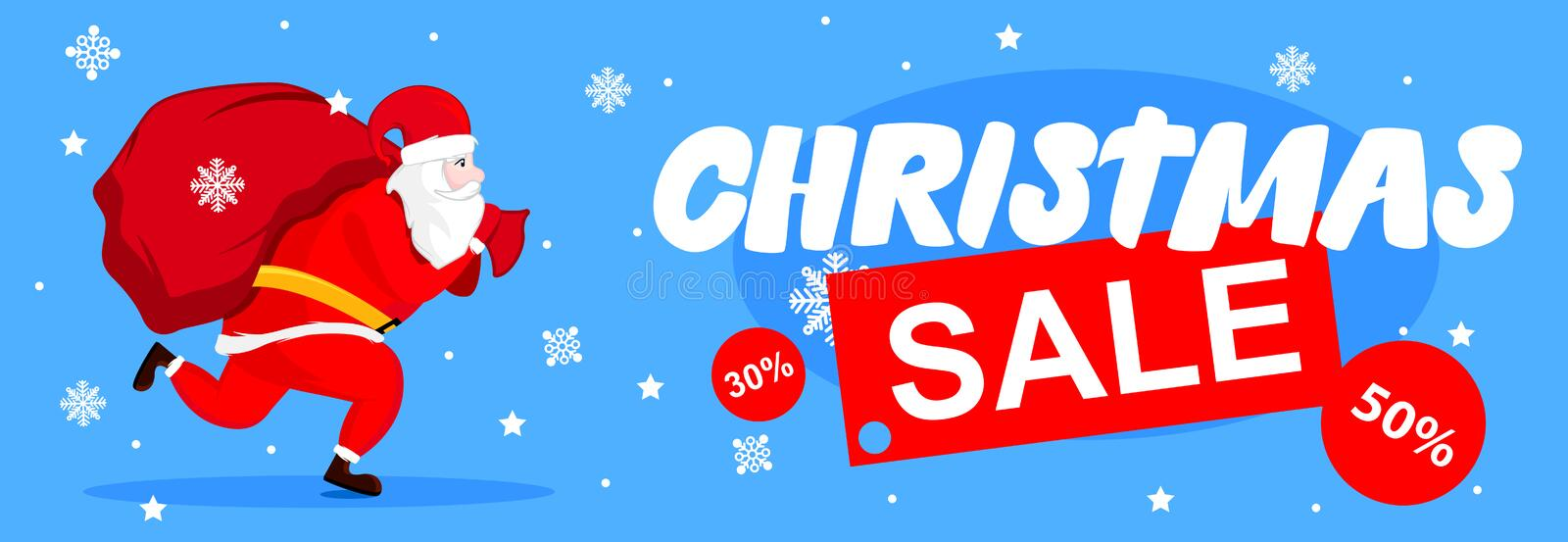 Santa Claus illustration with big present bag. Discount. Christmas postcard with Sale. Vector illustration design stock illustration