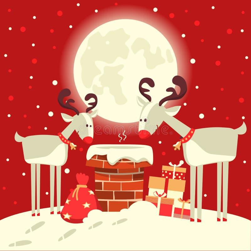 Santa Claus im Kamin mit Rotwild im Weihnachtsfeiertag w stock abbildung