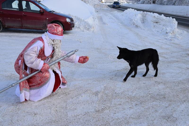Santa Claus im Winter auf den Straßenzufuhrhunden stockbild
