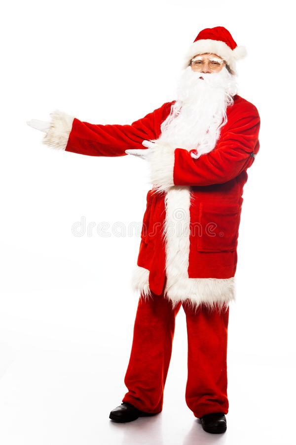 Santa Claus with isolated on white. Santa Claus showing with gestures something isolated on white background stock image