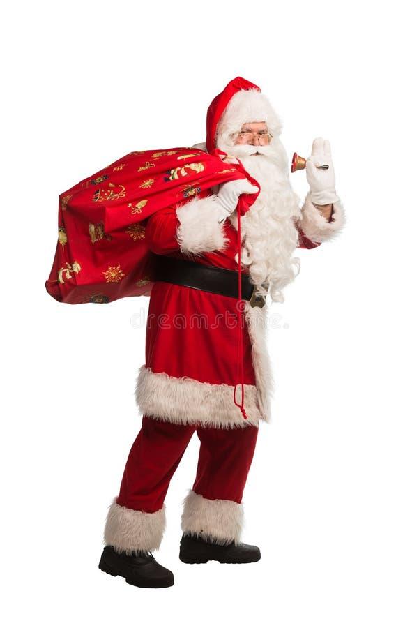 Santa Claus isolou-se no fundo branco, com o trajeto do trabalho incluído para o isolamento fácil imagem de stock royalty free