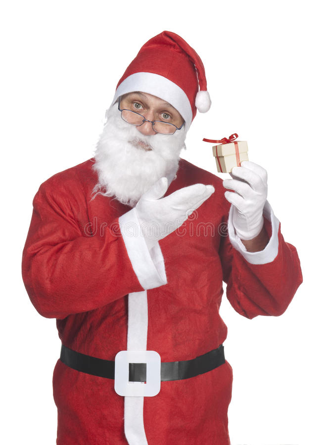 Santa Claus with ittle gift stock photos