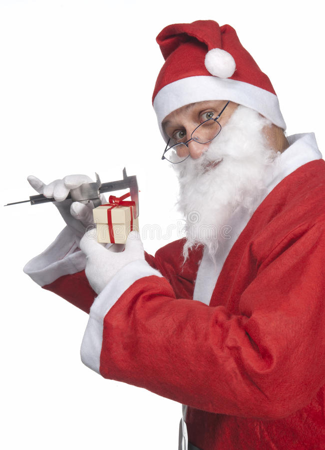 Santa Claus with ittle gift stock photo