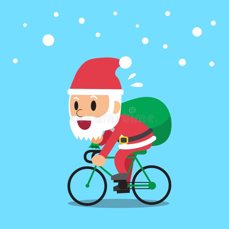 Santa Claus jazdy rower ilustracji