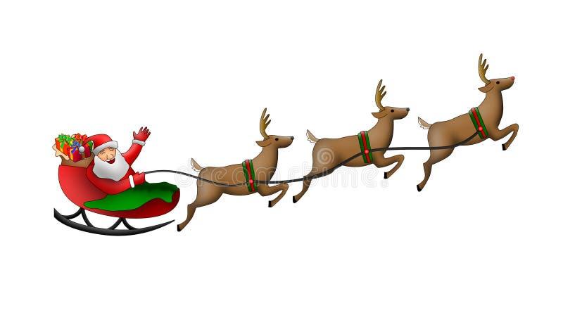 Santa claus jego sanie ilustracja wektor