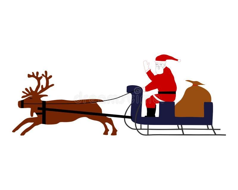 Santa claus jego sanie royalty ilustracja
