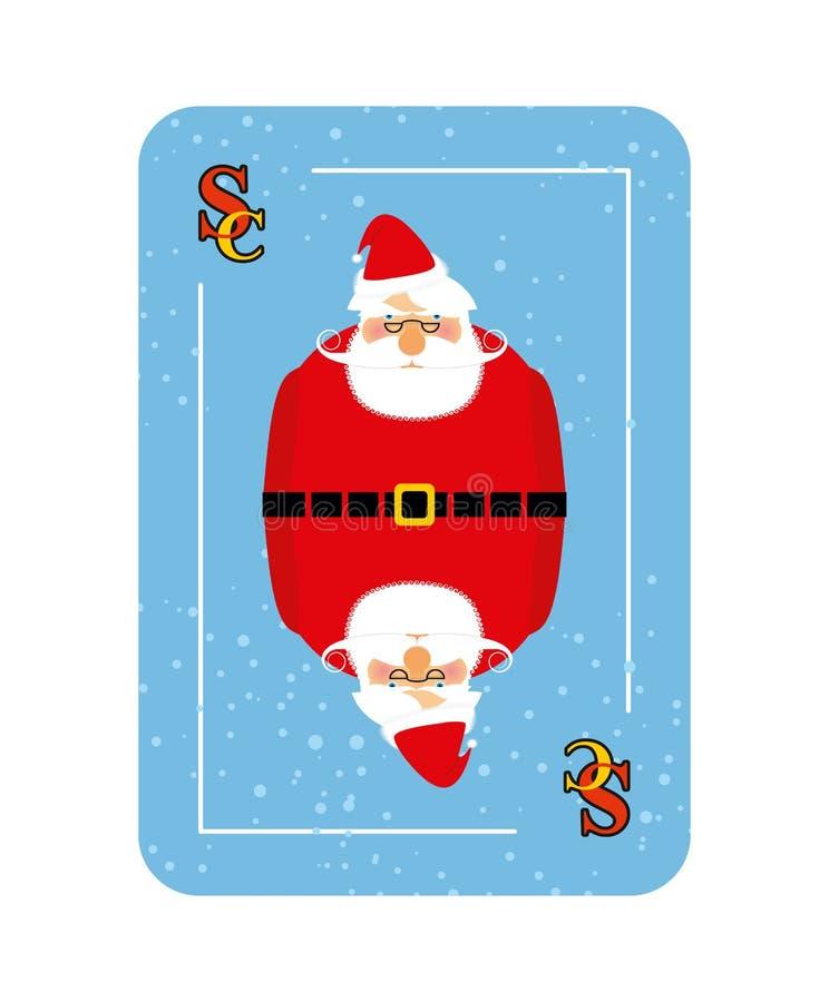 Santa Claus jouant la carte Nouveau concept de jouer des cartes illustration libre de droits