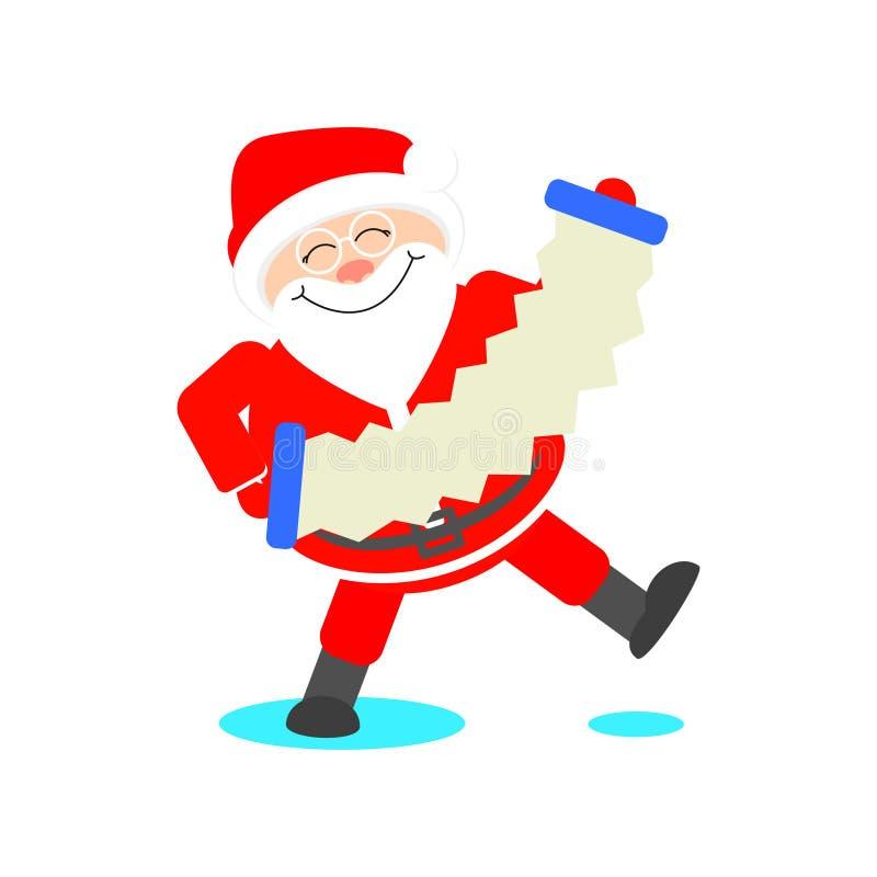 Santa Claus joue l'illustration de Noël d'harmonica illustration stock