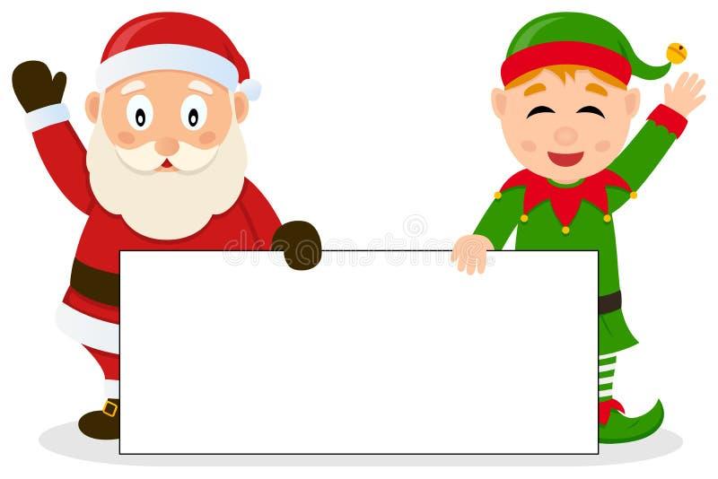 Santa Claus & julälva med banret royaltyfri illustrationer